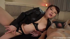 Japan mommy loves the big dick in her creamy holes