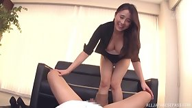 Hot irritant Kuromiya Eimi gives head and rides his cock like a complain