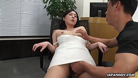 A beautiful HR clerk interviews a person then gives him nimble access to her pussy