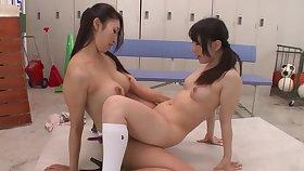 Reiko Kobayakawa & Ichika Ayamori TMHK-042 - lesbian strapon japan jav banned schoolgirl toys teacher heels knee socks