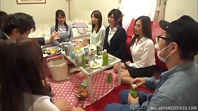 Kinky Japanese babes drop their dress to be fucked during a party