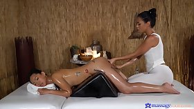 Auntie coition on the massage gaming-table between Canela Skin & Jureka Del Mar