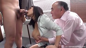 Japanese beauty shared by two older men distance from the office
