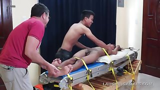 Asian Twink Benjamin Tied and Gang Tickled