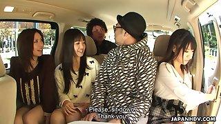 Three naughty Japanese girlfriends give a good Asian blowjob on pov camera