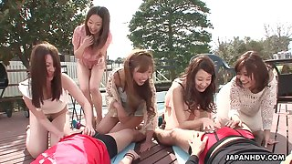 Several naughty Japanese babes take part in cock sucking contest