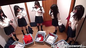 Japanese teens giving blowjobs to samurai master in dojo