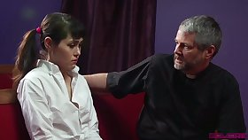 Naturally stuck pigtailed Audrey Noir gets poked from bankrupt by older maltreat