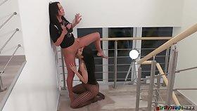 Skinny MILF Terra Twain films Lady Dee licking her pussy