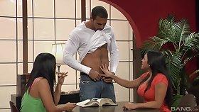 Interracial threesome take two slutty girls Yuki Mori & Adriana Luna